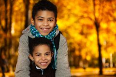 Portrait of two smiling boys Royalty Free Stock Photography