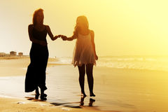Portrait of two smiling girlfriends Royalty Free Stock Images