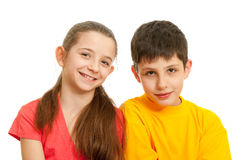 Portrait of two smiling kids Royalty Free Stock Image
