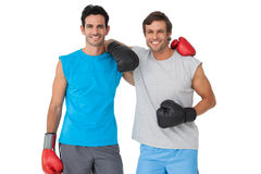 Portrait of two smiling male boxers Royalty Free Stock Photography