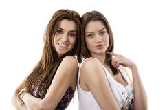 portrait of two smiling young female friends royalty free stock photos