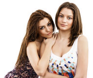 portrait of two smiling young female friends royalty free stock images