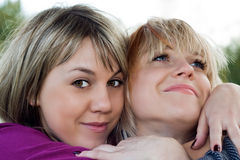 Portrait of the two smiling young women Royalty Free Stock Photos