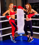 Portrait of two sport girl after boxing on ring. Stock Photo