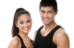 Portrait of two sportive people in black sportswear Royalty Free Stock Photography