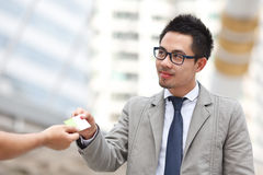 Portrait of two successful business executive exchanging business card Royalty Free Stock Images