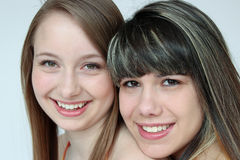 Portrait of Two teen girls. Beautiful portrait of two smiling teen girls Royalty Free Stock Photography