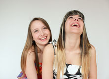 Portrait of Two teen girls. Beautiful portrait of two smiling teen girls Stock Photo