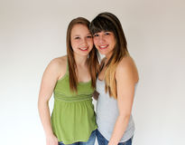 Portrait of Two teen girls. Beautiful portrait of two smiling teen girls Royalty Free Stock Photos