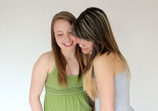 Portrait of Two teen girls. Beautiful portrait of two smiling teen girls Stock Photos