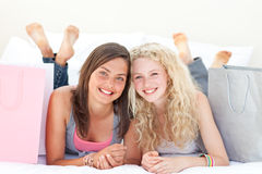 Portrait of two teen girls after shopping clothes Stock Photo