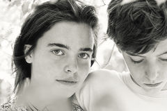 Portrait of two teenagers Stock Photo