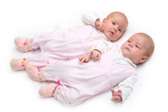 Portrait of two twin sister Royalty Free Stock Image