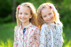 Portrait of two twins Royalty Free Stock Image