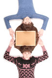 Portrait of two twins sisters with long hair and cork board Stock Photography