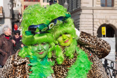 Portrait of two unidentified ladies wearing a carnival costumes at Luzern Carnival in Lucern, Switzerland. Stock Image