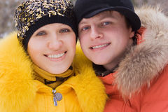 Portrait two in winter Stock Photos
