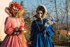 Portrait of two woman with carnival costumes Stock Images