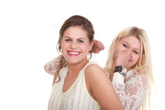 Portrait of two women Smiling girls shopping isolated white Stock Photo
