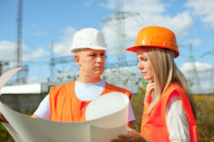 Portrait of two workers Royalty Free Stock Photos