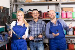 Portrait two workers and superviser Stock Images