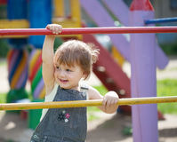 Portrait of two-year child at playground Stock Photo