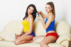 Portrait of two young beautiful girls Royalty Free Stock Image