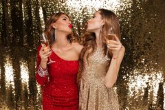 Portrait of two young beautiful girls in shiny dresses Royalty Free Stock Images
