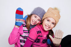 Portrait of two young beautiful girls Stock Photos