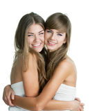 Portrait of two young beautiful women Royalty Free Stock Image
