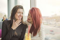 Portrait of two young beautiful women at coffee shop, girl talk. Two female friends enjoying together in a restaurant laughing, talking and gossiping Stock Photos
