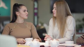 Portrait of two young beautiful women talking and laughing as sitting in cafe. Positive female Caucasian friends