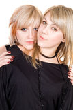 Portrait of  the two young beauty blonde Stock Images