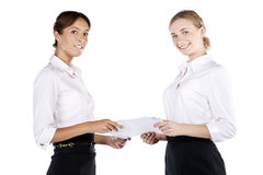 Portrait of two young businesswomen in the studio Stock Photos