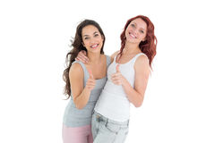 Portrait of two young female friends gesturing thumbs up. Over white background Stock Photography