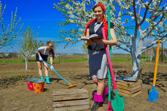 Two young females on garden Royalty Free Stock Images