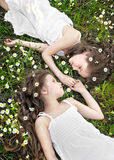 Portrait of two young girlfriends Royalty Free Stock Image