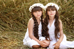 Portrait of two young girlfriends Royalty Free Stock Photography