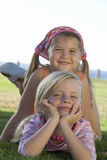 Portrait of two young girls stock photo