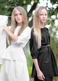 Portrait of two young girls girlfriends Stock Photography