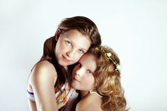 Portrait of two young girls. Stock Photos