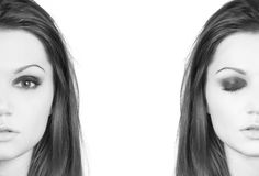 Portrait of two young Latino women. Portrait of two young and beautiful Latino women. The image is desaturated and isolated on a white background Stock Photography
