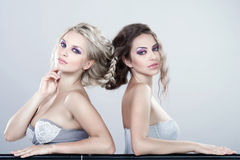 Portrait of a two young sensual women. Stock Image