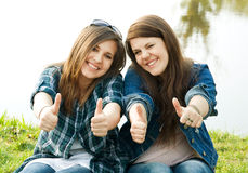 Portrait of two young teenagers Stock Images
