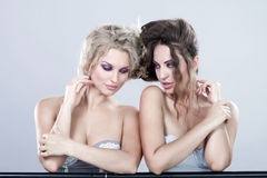 Portrait of a two young women. Royalty Free Stock Images
