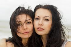 Portrait of a two young women Stock Photo