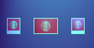 Portrait of U.S. president Benjamin Franklin. On blue royalty free illustration
