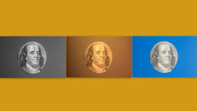 Portrait of  U.S. president Benjamin Franklin. Collage Royalty Free Stock Photography