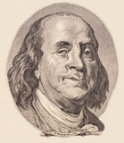 Portrait of U.S. president Benjamin Franklin Royalty Free Stock Photo