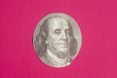 Portrait of  U.S. president Benjamin Franklin. On pink Stock Photography